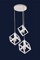 Светильник подвесной на три плафона в стиле lolt LV на круглом потолочном основании белого цвета