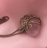 Авторский кулон «Сердце» из розового кварца в латуни