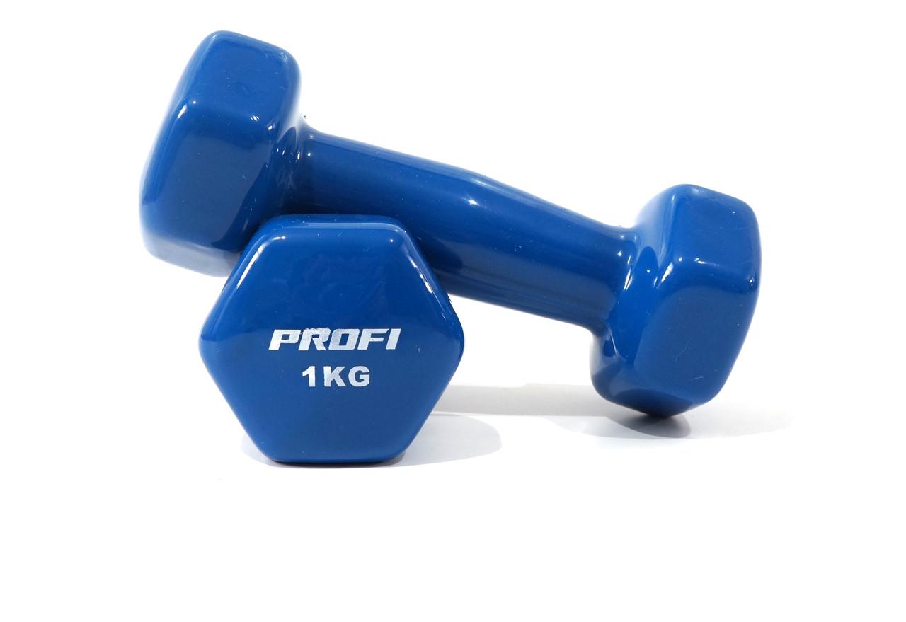 Гантель Profi 1 кг. (1шт.) с виниловым покрытием (Синяя)