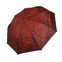 """Женский зонт с изображениями городов на ярком фоне, полуавтомат фирмы """"Max"""", темно-красный, 3373-1, фото 1"""