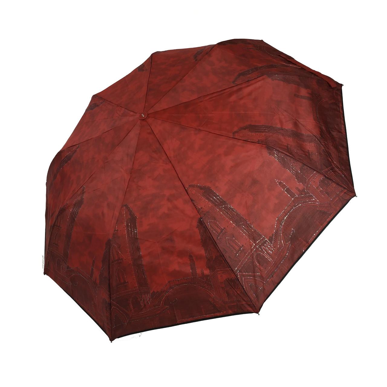 """Женский зонт с изображениями городов на ярком фоне, полуавтомат фирмы """"Max"""", темно-красный, 3373-1"""