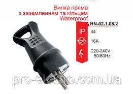 Вилка RIGHT HAUSEN Waterproof прямая с заземлением с кольцом чёрная IP44 HN-021082N
