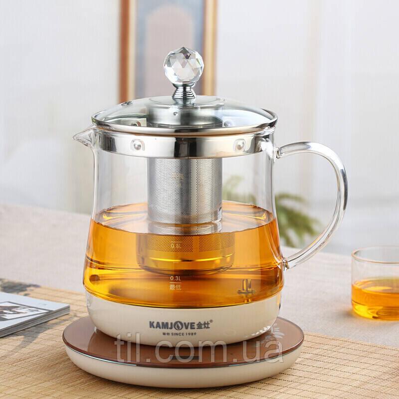 """Стеклянный чайник с электрическим сенсорным интелектуальным подогревателем """"KAMJOVE"""" 1500 мл."""