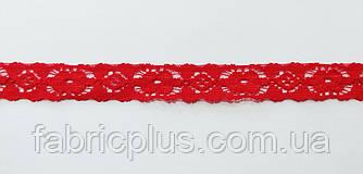 Гипюр стрейч на сетке 15 мм красный двухсторонний