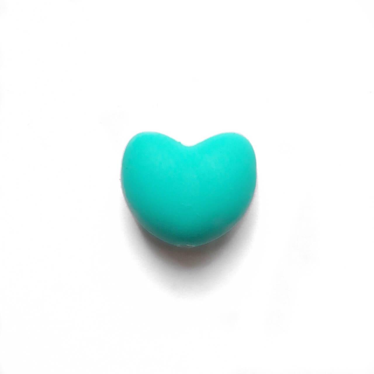 Сердце (бирюза)  силиконовая бусина