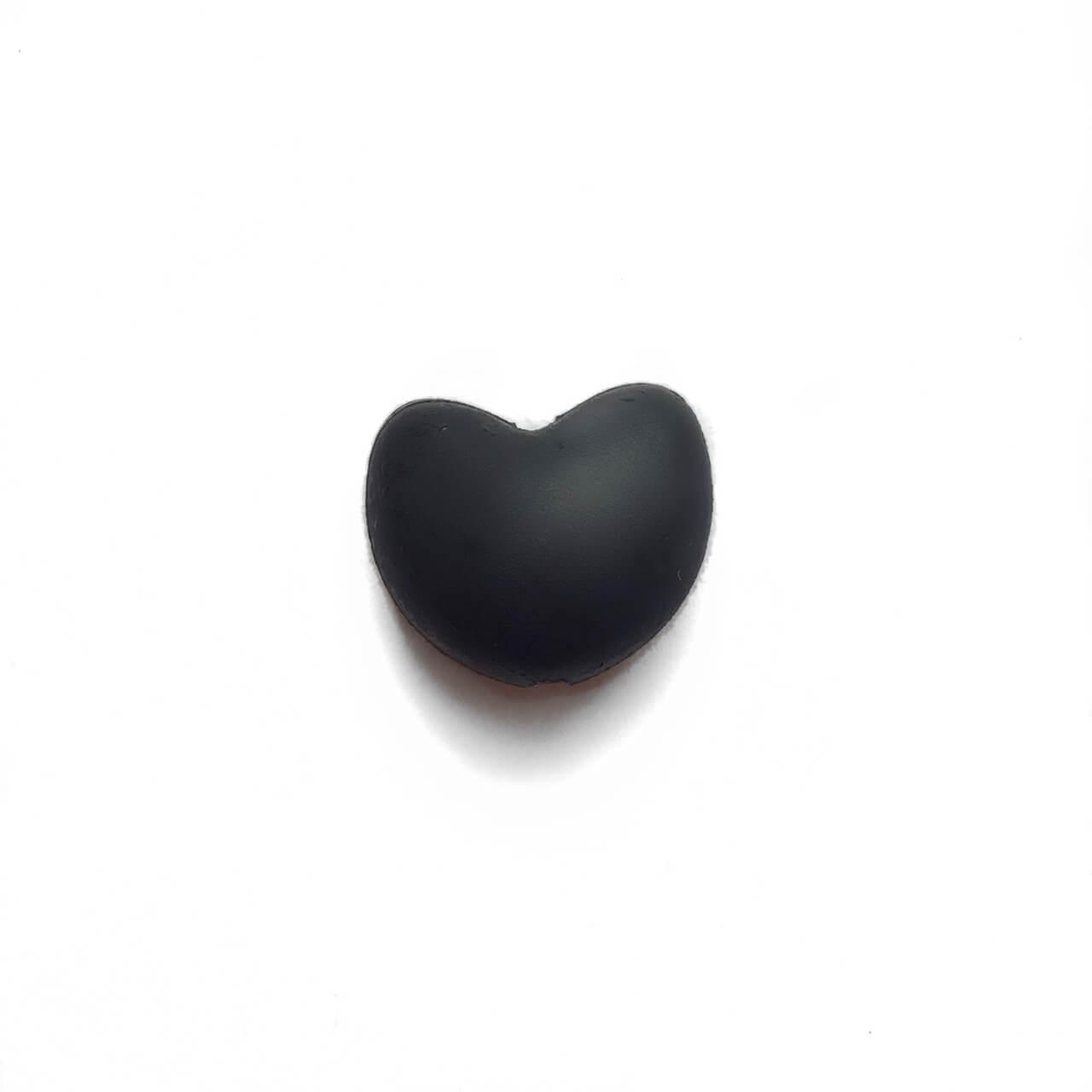 Сердце (черный)  силиконовая бусина