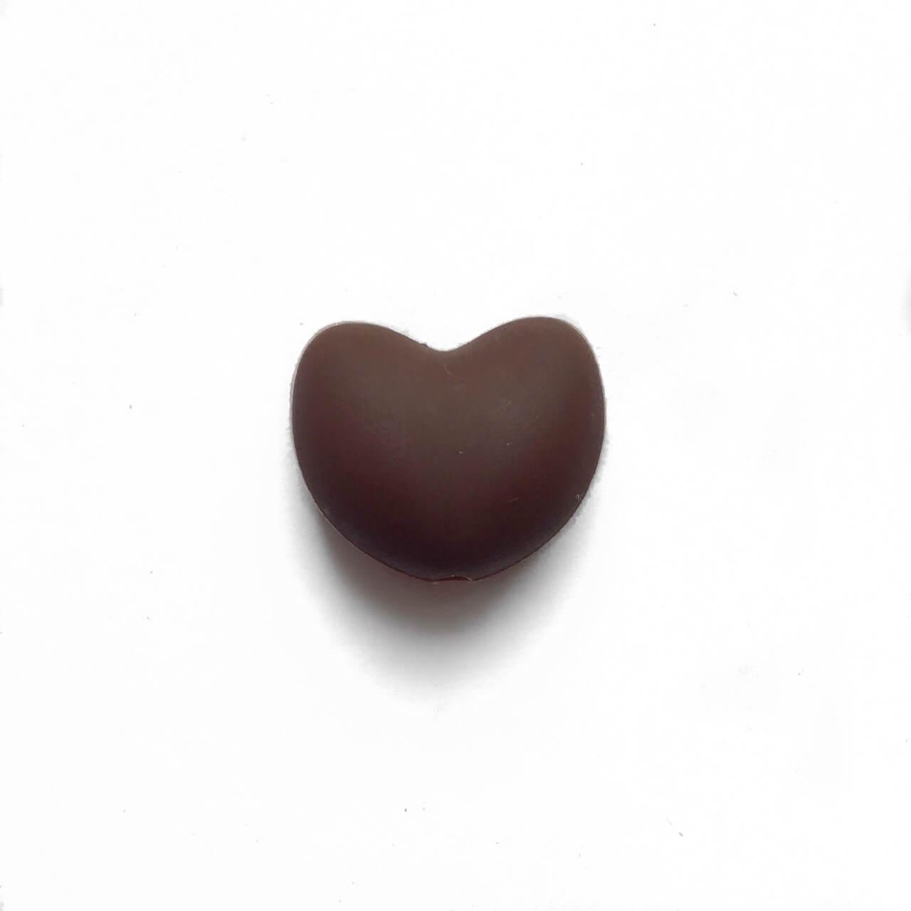 Сердце (коричневый)  силиконовая бусина