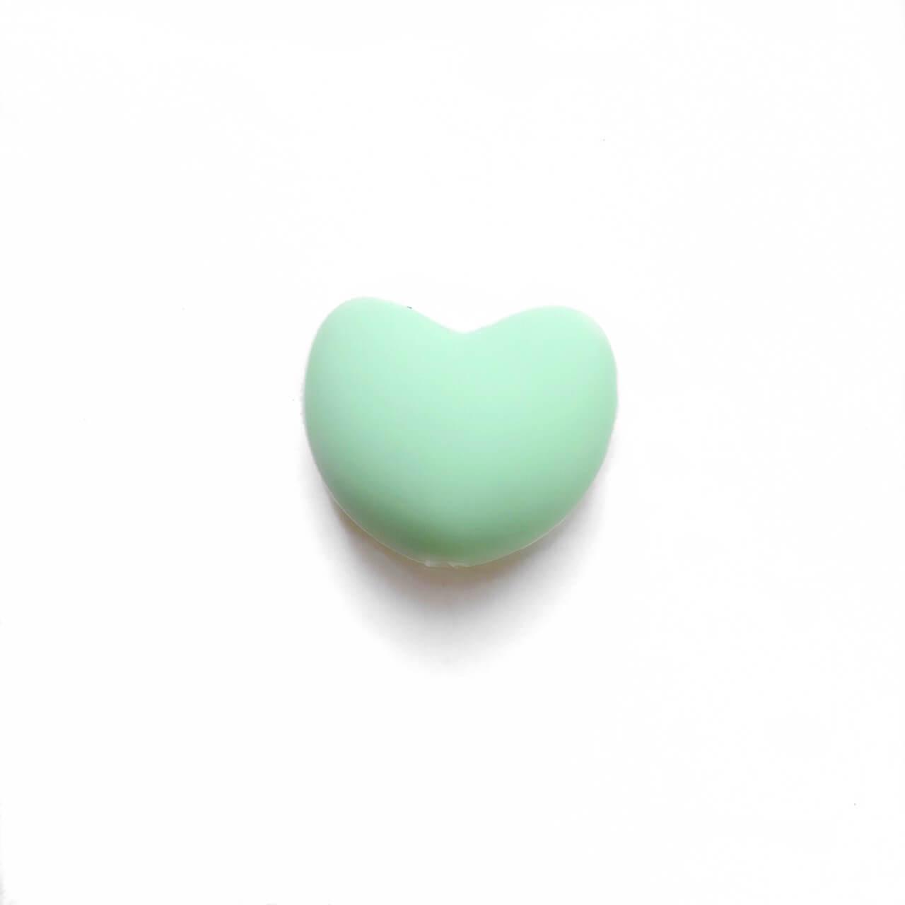 Сердце (мята)  силиконовая бусина