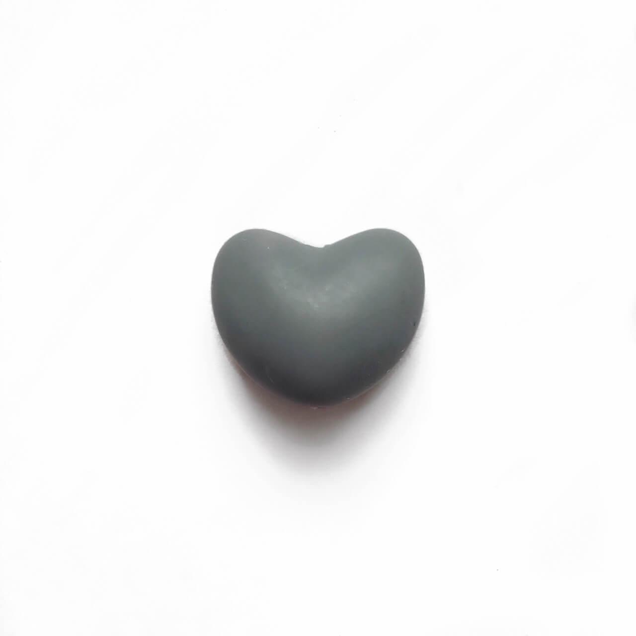 Сердце (темно серый)  силиконовая бусина