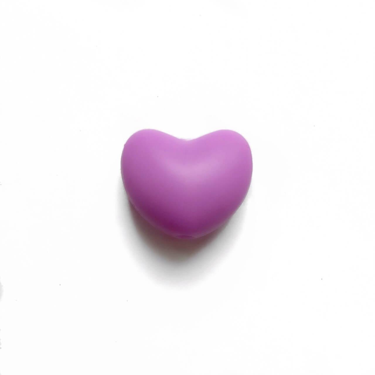 Серце (бузок) силіконова намистина