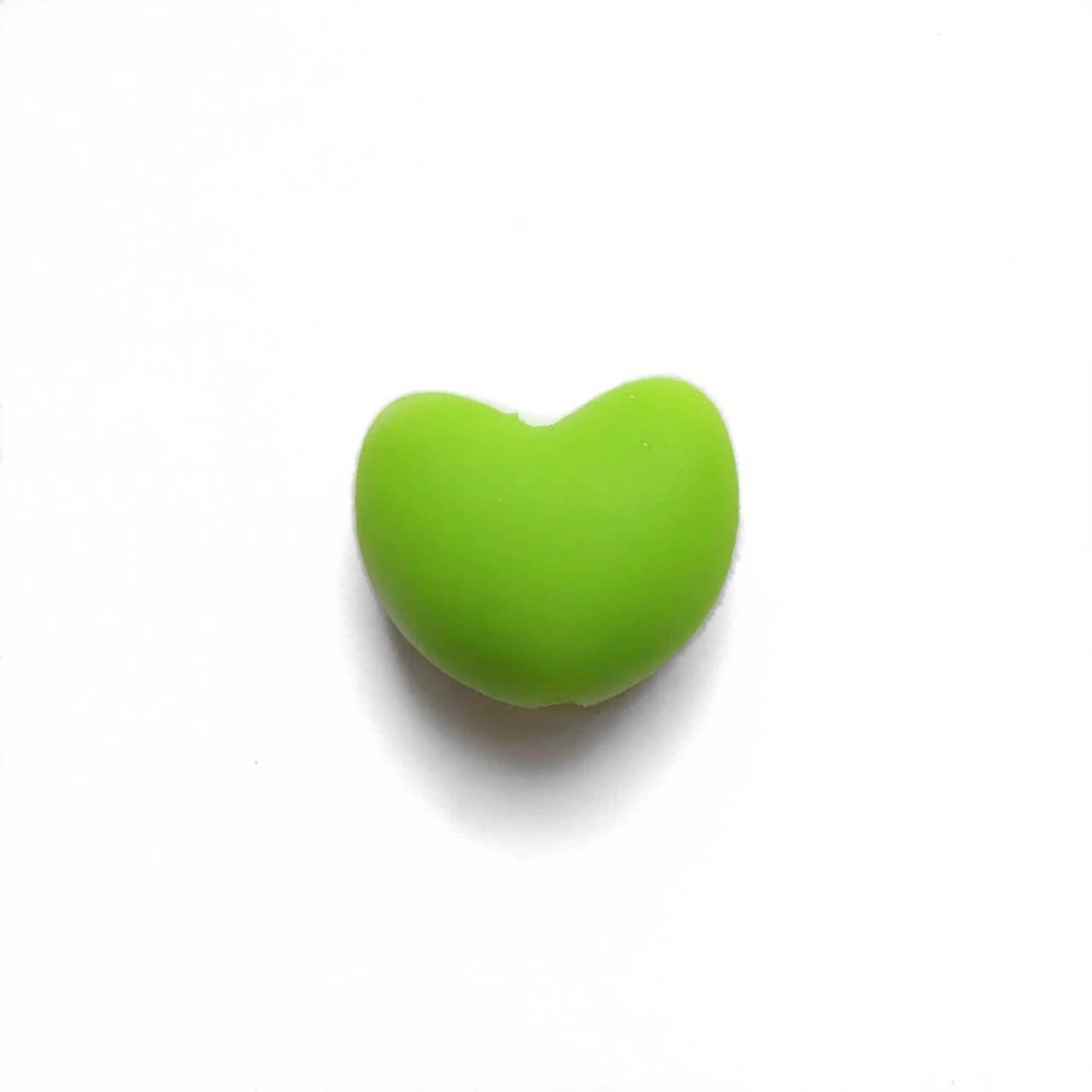 Сердце (зеленый)  силиконовая бусина