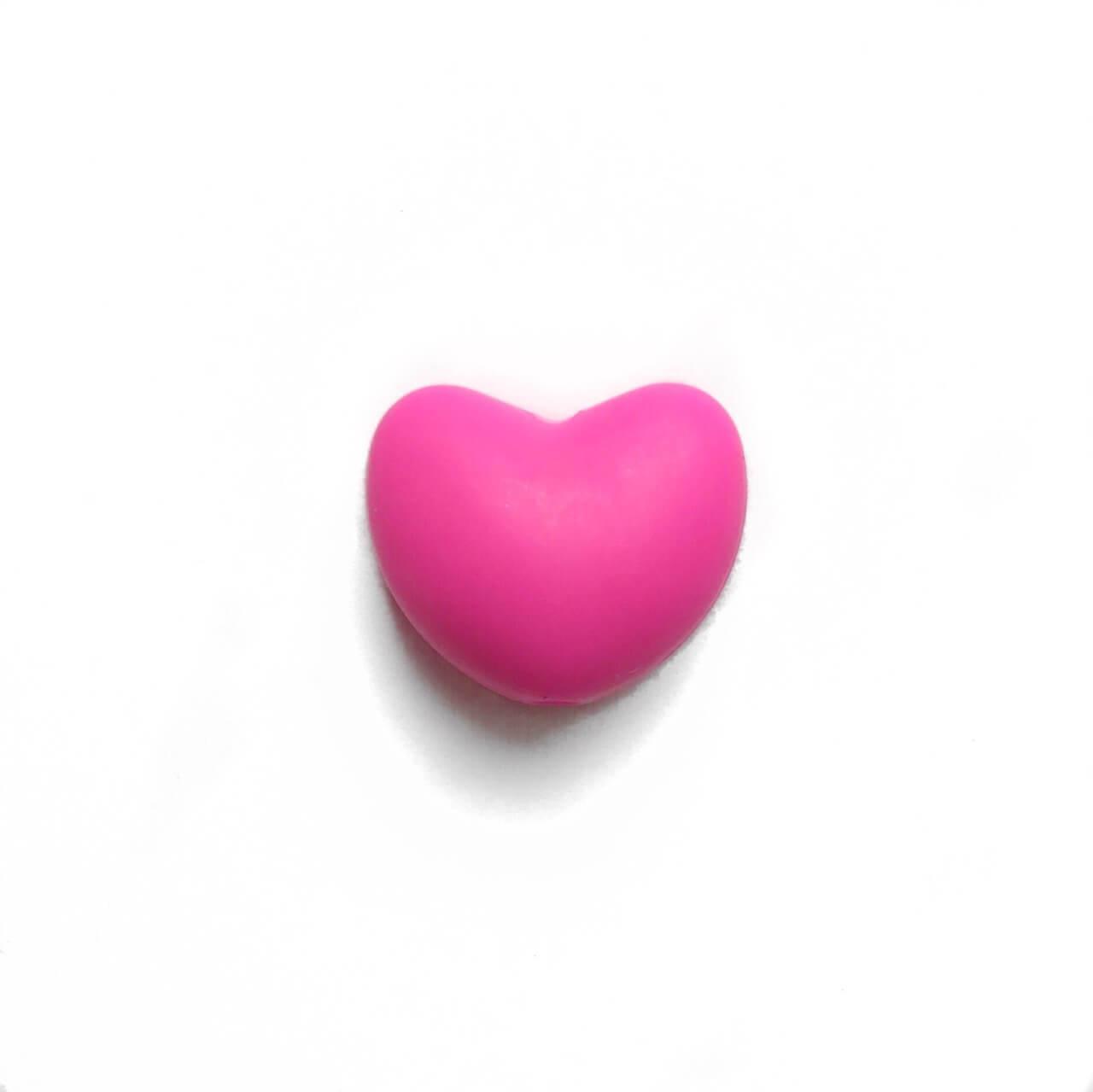 Сердце (малина)  силиконовая бусина
