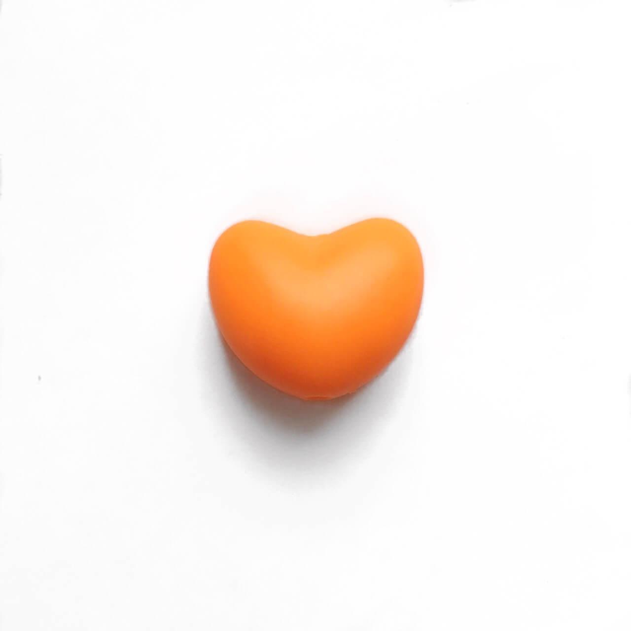 Сердце (оранжевый)  силиконовая бусина