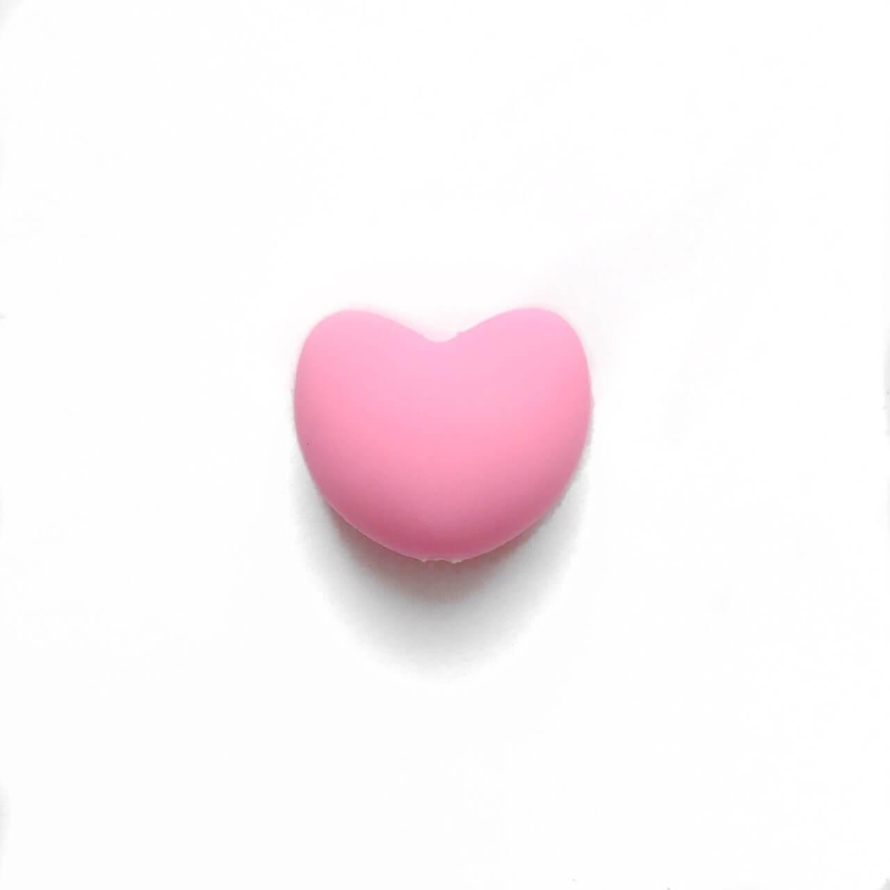 Сердце (розовый)  силиконовая бусина