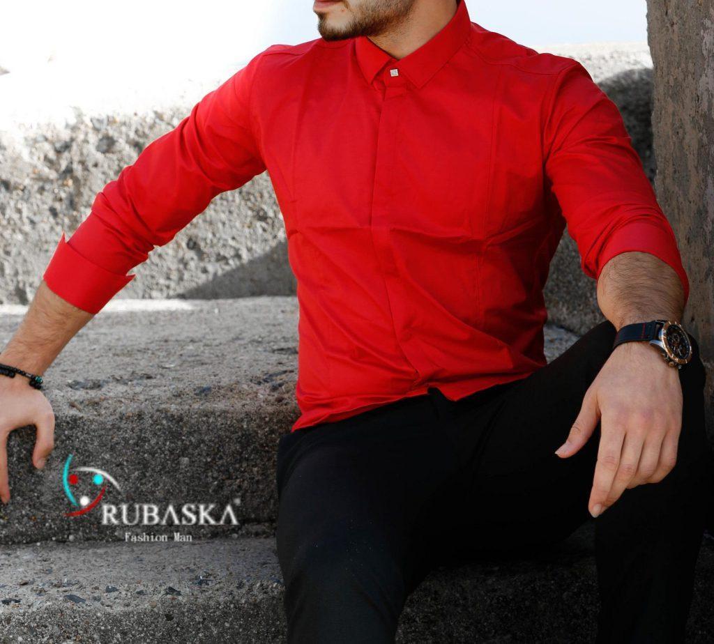 Мужская красная рубашка с длинным рукавом