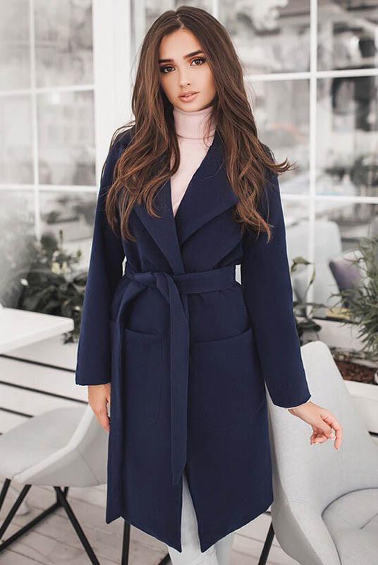 Темно-синее пальто на подкладке Сприн