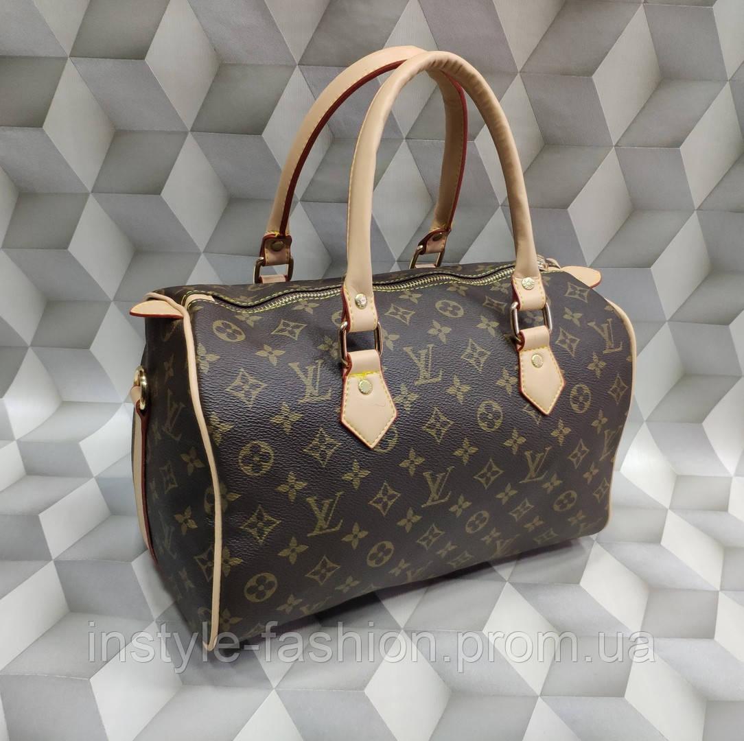 Сумка женская бочонок копия Louis Vuitton Луи Виттон качественная эко-кожа коричневая с бежевым