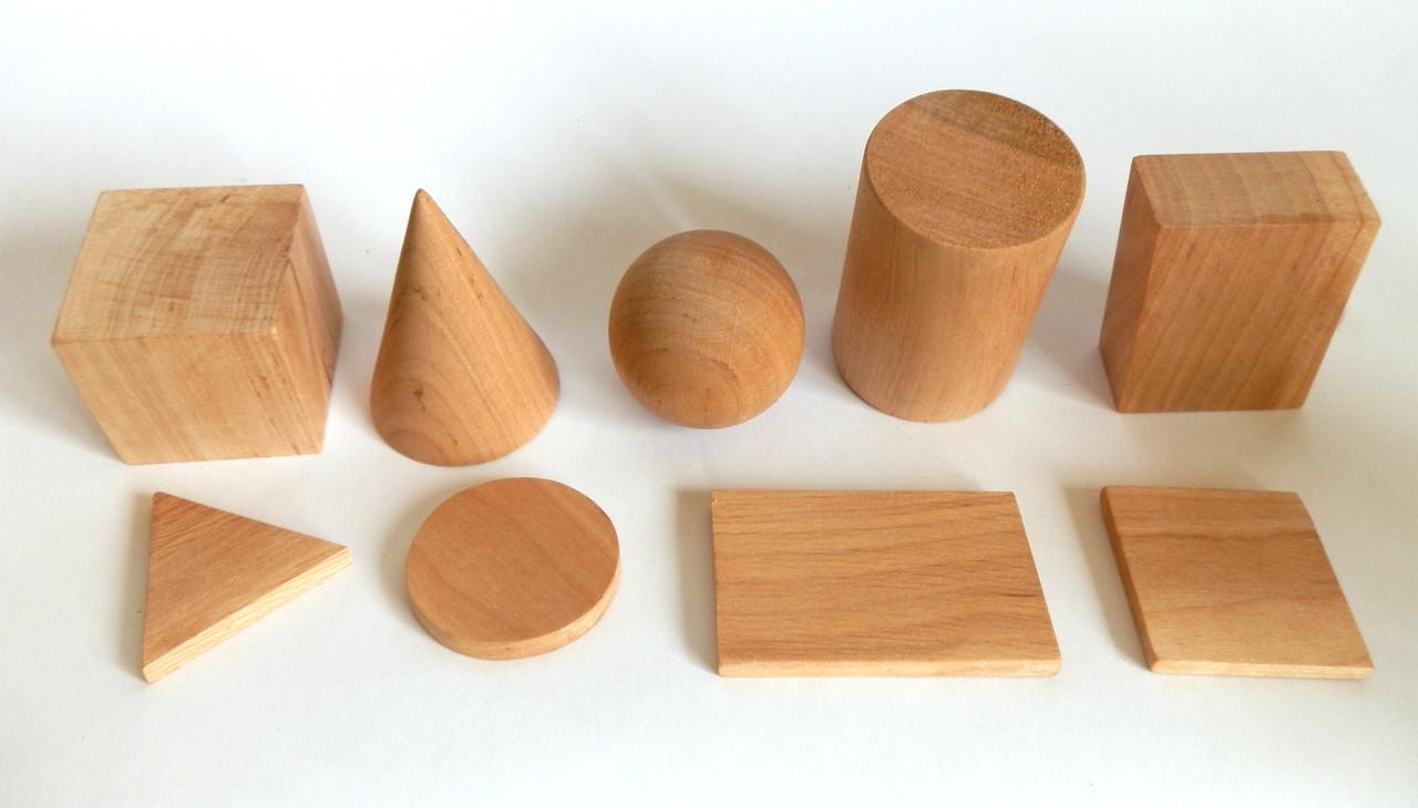 Набір лабораторних моделей геометричних тіл та фігур (дерево)