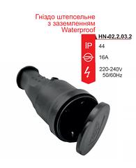 Гнездо RIGHT HAUSEN Waterproof штепсельное с заземлением чёрное IP44 HN-022032N