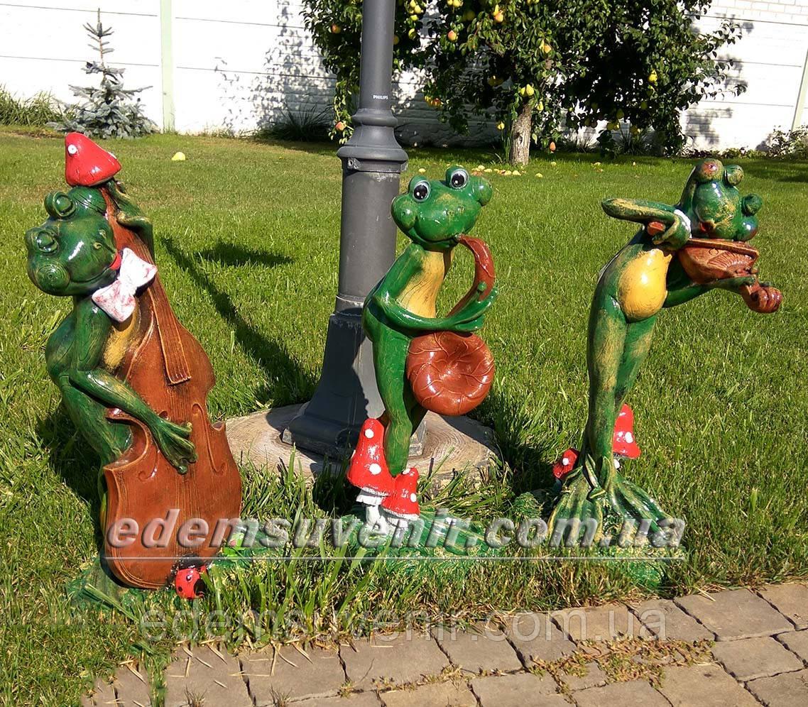 Садовая фигура Лягушки Трио музыканты