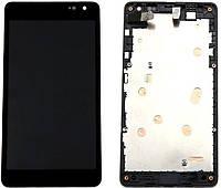 Дисплей (экран) Microsoft 535, 535 Lumia Dual Sim (CT2S1973FPC-A1) с тачскрином и рамкой в сборе, черный