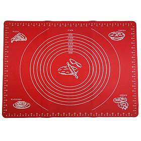 Силиконовый коврик A-PLUS для выпечки и раскатки теста 50*40 см красный