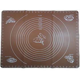 Силиконовый коврик A-PLUS для выпечки и раскатки теста 50*40 см коричневый