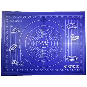 Силиконовый коврик Genes 68 на 51,5 см для раскатки теста синий