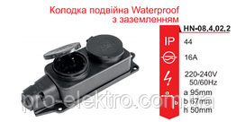 Колодка RIGHT HAUSEN Waterproof 2-я с заземлением чёрная IP44 HN-084022N