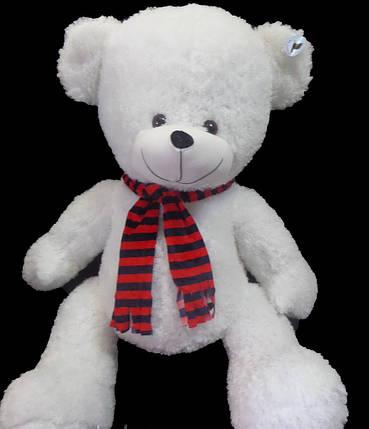 Мишко 120 см в смугастому шарфі велика плюшева іграшка універсальний подарунок дівчині або дитині, фото 2