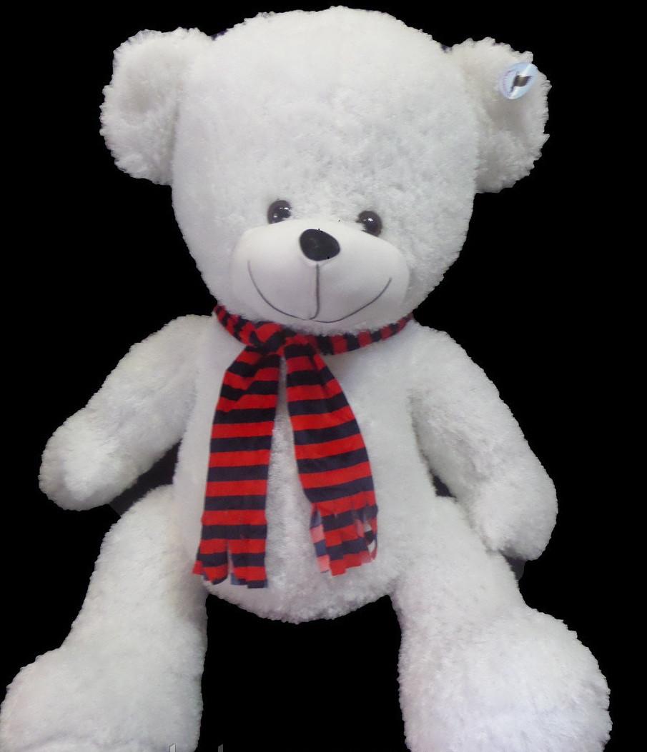Мишко 120 см в смугастому шарфі велика плюшева іграшка універсальний подарунок дівчині або дитині