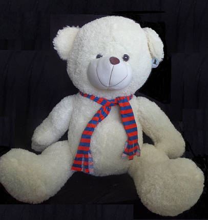 Мишка 120 см в полосатом шарфе большая плюшевая игрушка универсальный подарок девушке или ребенку, фото 2