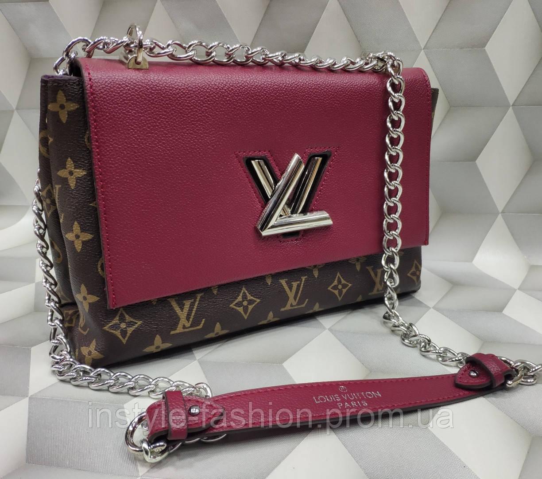 Сумка-клатч на цепочке копия Louis Vuitton Луи Виттон качественная эко-кожа цвет коричневый с бордовым