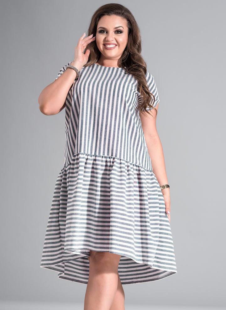 Летнее платье в полоску. Модель 17686. Размеры 50-56