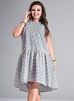 Летнее платье в полоску. Модель 17686. Размеры 50-56, фото 1