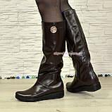 """Демисезонные женские сапоги """"свободного одевания"""" из натуральной кожи коричневого цвета на низком ходу, фото 2"""