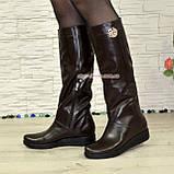 """Демисезонные женские сапоги """"свободного одевания"""" из натуральной кожи коричневого цвета на низком ходу, фото 3"""