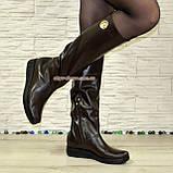 """Демисезонные женские сапоги """"свободного одевания"""" из натуральной кожи коричневого цвета на низком ходу, фото 4"""