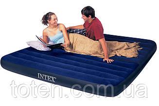 Матрас надувной велюровый 68755 Intex 183-203-22см, флокированная поверхность, цвет синий