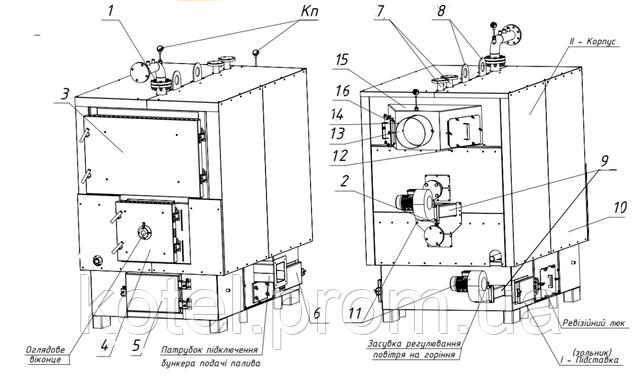 Схема водогрейного котла на щепе ТМ-400