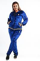 """Женский велюровый спортивный костюм """"Gaston"""" с капюшоном (большие размеры)"""