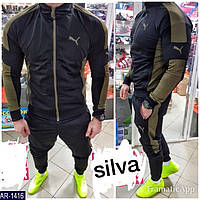 """Мужской стильный спортивный костюм """"puma"""",штаны на манжете,кофта без капюшона (лакоста) 2-цвета"""