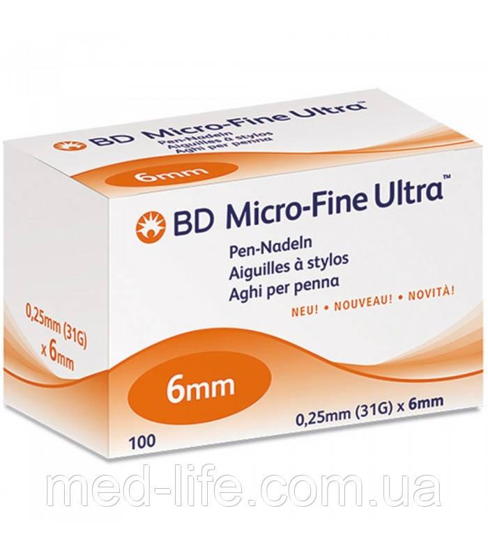 Иглы к инсулиновой шприц ручке BD MicroFine 6mm 100шт/уп