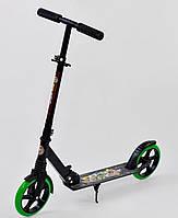Самокат двухколесный Best Scooter 00098 черно-салатовый, 1 амортизатор, зажим руля, колеса 200 мм, фото 1