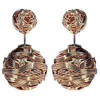 Серьги-шарики в стиле Mise en Dior металлические золотые
