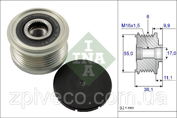 Шкив генератора Е4 535 0103 10 INA (504088796) IVECO