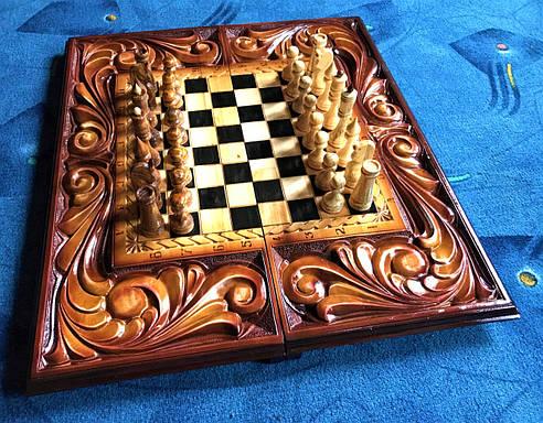 Шахматы-нарды-шашки ручной работы, фото 2