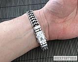 Серебряный мужской браслет Панцирный двойной, плетение панцирь серебро, фото 4