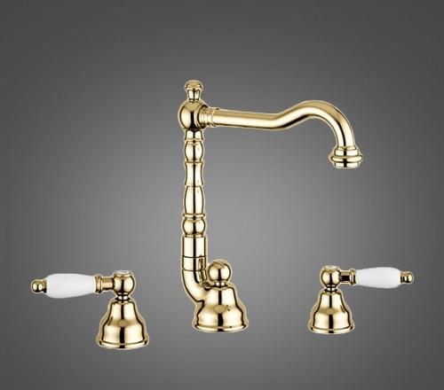 Смеситель для умывальника EMMEVI DECO ceramica OR121643 золото