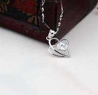 Серебряная подвеска сердце с цепочкой